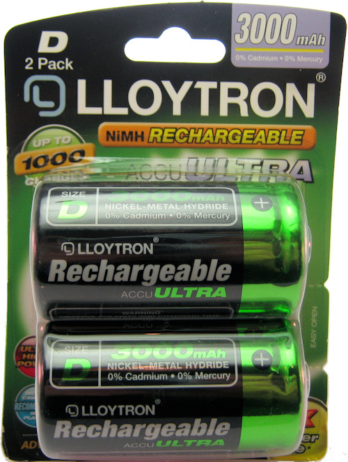 Lloytron D 3000 mAh 1.2V Ni-MH Rechargeable Batteries | Battery Buddy